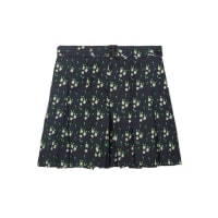 A.P.C.Soho Pleated Printed Silk-twill Shorts - Midnight blue