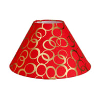Aadhya CreationsAc Lampshade Tapered Red With Gold Rings