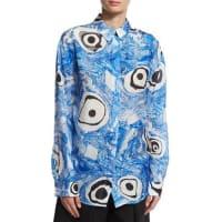 Acne StudiosTie-Dye Long-Sleeve Blouse, Blue Pattern