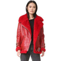 Acne StudiosVelocite Shearling Moto Jacket - Red