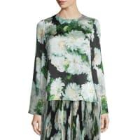 Adam LippesBell-Sleeve Floral-Print Blouse, White Dahlia