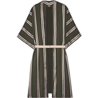 Adam LippesBelted Striped Satin-trimmed Twill Jacket - Army green
