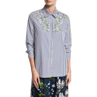 Adam LippesFloral-Embroidered Striped Cotton Shirt, Multi