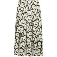 Adam LippesPleated Floral-print Leather And Silk-chiffon Skirt - Black