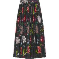 Adam LippesPleated Floral-print Voile Wrap Skirt - Black