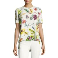 Adam LippesShort-Sleeve Floral-Print Top, Multi