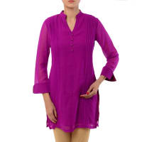 AdaraPurple Embroidered Georgette Tunic