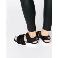 adidasOriginals Adilette Chunky Strap Sandal Flat Sandals - Black