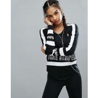 adidasOriginals - Langärmliges Shirt mit Block-Logo mit drei Streifen - Schwarz