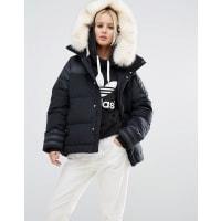 adidasOriginals Padded Jacket With Faux Fur Trim - Black