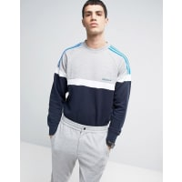 adidas OriginalsSweatshirt mit Rundhalsausschnitt und Bahnendesign - Grau