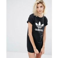 adidasOriginals T-Shirt Dress With Trefoil Logo - Black