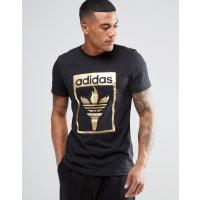 adidas OriginalsTrefoil Fire T-Shirt AZ1031 - Black