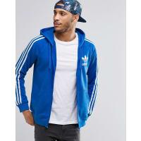 adidas OriginalsAY7787 - Felpa con cappuccio e zip con logo a trifoglio - Blu
