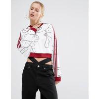 adidasOriginals X Rita Ora - Kurzes Sweatshirt mit gemaltem Print - Mehrfarbig