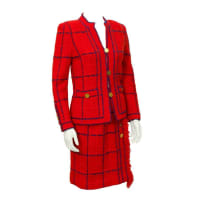 ADOLFO1970s Adolfo Red Knit Chanel Inspired Suit