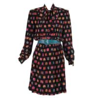 ADOLFO1970s Adolfo Silk Print Shirtwaist Dress