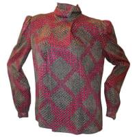 ADOLFO1970s Vintage Black & Purple Printed Long Sleeve Silk Blouse - M