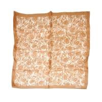 ADOLFOBeige & White Floral Print Silk Scarf