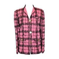 ADOLFOBold Fuchsia & Black Wool Plaid Jacket