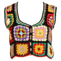 ADOLFOFor I. Magnin 1970s Vintage Wool Granny Squares Hand Crochet Vest Top