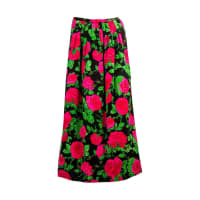 ADOLFOStriking Adolfo Red Pink Green And Black Pleated Floral Silk Long Skirt
