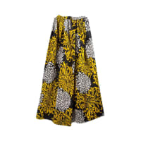 ADOLFOStunning Adolfo Gold Black And Silver Pleated Floral Silk Long Skirt