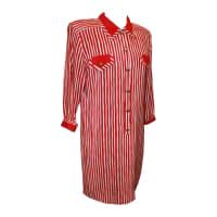 ADOLFOVintage 1960s Adolfo Red And White Stripe Long Shirt Dress - M