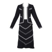 ADOLFOVintage 1970s 70s Black & White Wool Jacket + Skirt Suit Ensemble