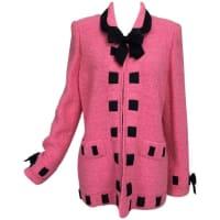 ADOLFOVintage Adolfo Pink & Black Ribbon Trim Boucle Jacket 1970s