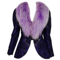 ADOLFOVintage Adolfo Purple Metallic Lame Black Lace Jacket With Fur Collar 1980s