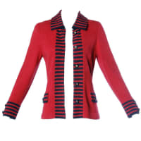 ADOLFOVintage Red & Black Striped Knit Cardigan Sweater Or Suit Jacket