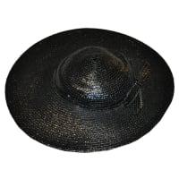ADOLFOWide Brim Polished Black Straw With bow Hat