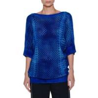 AgnonaTie-Dye Half-Sleeve Cashmere Tunic, Blue