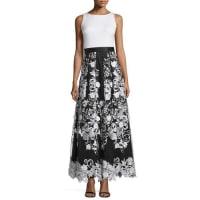 Aidan MattoxSleeveless Combo Floral-Skirt Dress