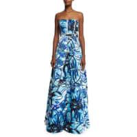 Aidan MattoxStrapless Floral-Print A-line Gown