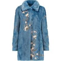 AineaEmbroidered Faux Fur Coat - Blue