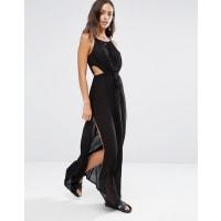 AkasaKeyhole Cut Out Beach Maxi Dress - Black