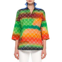 Akris3/4-Sleeve Baseball-Net Print Blouse, Multi Colors