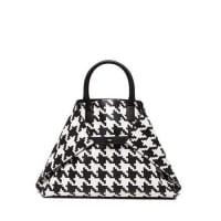 AkrisAi Medium Top-Handle Houndstooth Shoulder Bag