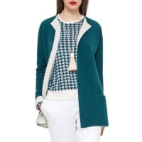 AkrisBicolor Knit Open Cardigan, Seabiscuit/Moonstone
