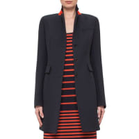 AkrisFitted Three-Button Colorblock Wool Coat, Navy