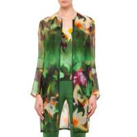 AkrisGrand Hedge Floral-Print Silk Organza Topper Jacket, Multi