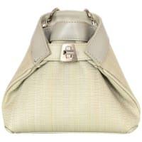 AkrisGrey/cream Woven Horsehair Mini Ai Evening Crossbody Bag