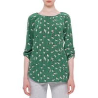 AkrisRolled-Sleeve Round-Neck Printed Blouse, Grass/Cream