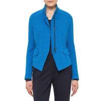 AkrisStand-Collar Jacquard Jacket, Azure