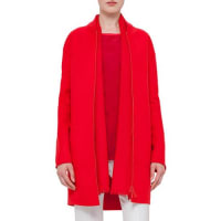 AkrisZip-Front Long-Sleeve Coat, Sport Red