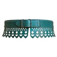 Alaia1990s Azzedine Alaia Teal Scalloped Laser Cut Leather Belt