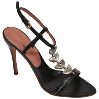 AlaiaUnworn Azzedine Alaia Black Leather Heels With Silver Hardware 37