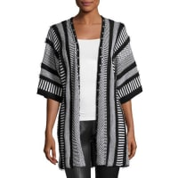 Alberto MakaliMultipattern Knit Cardigan with Studded Trim, Black/White